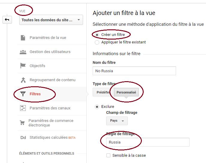 Google Analytics Créer un filtre