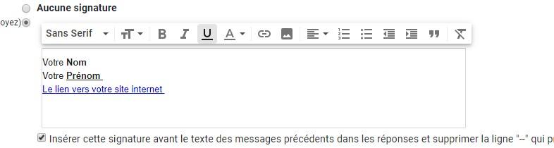 Signature Mails Gmail